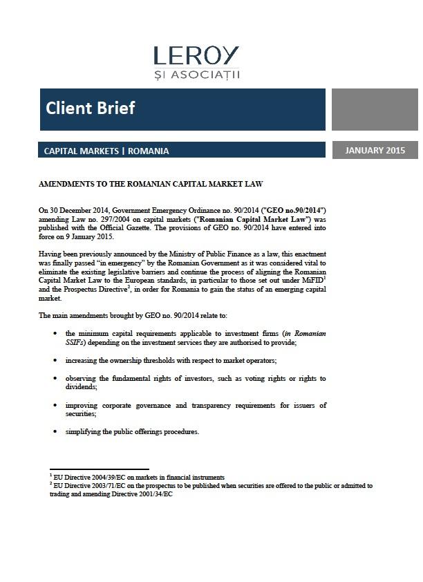 Modificarea legii privind piața de capital din România