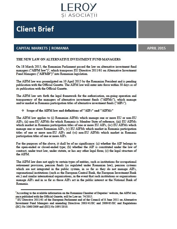 Noua lege privind administratorii de fonduri de investiții alternative