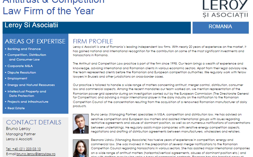 """Lawyer Monthly – Legal Awards 2016: Leroy şi Asociatii was awarded the """"Antitrust & Competition Law Firm of the Year"""" title by the international publication Lawyer Monthly."""