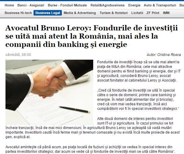 Avocatul Bruno Leroy: Fondurile de investiţii se uită mai atent la România, mai ales la companii din banking şi energie